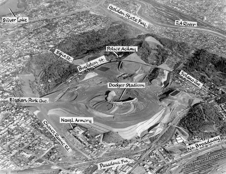 Dodger Stadium / Chavez Ravine with neighboring landmarks. LA Herald Examiner Photo Collection, Los Angeles Public Library