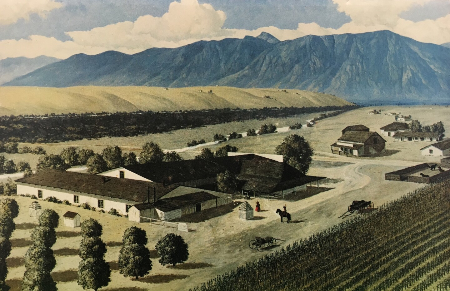 """Oil painting of Pico's """"El Ranchito in the 1880s,"""" painted by artist Herbert Hahn in the 1960s"""