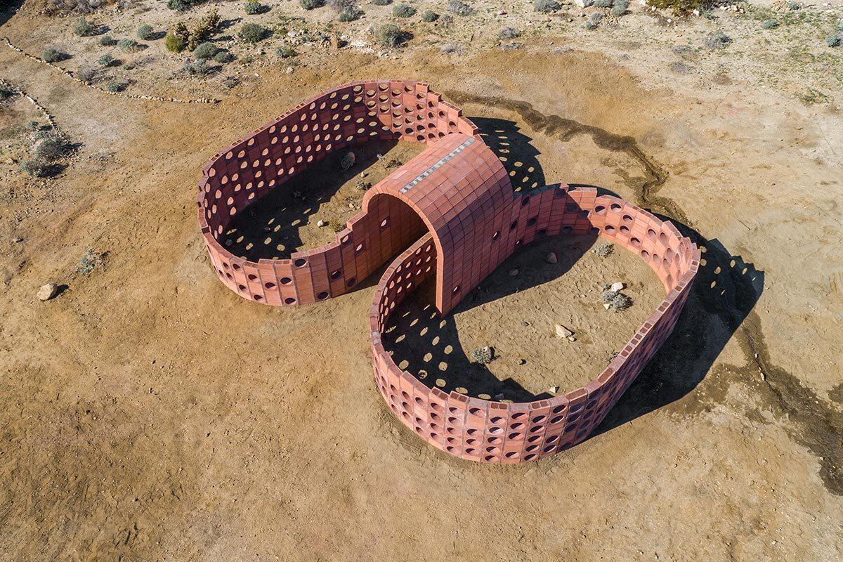 Desert X installation view, Julian Hoeber, Going Nowhere Pavilion #01 (Breeze Block, Ben-Day Dot, Coleseum, Möbius Strip, Thought Problem), 2019   Lance Gerber, courtesy of Desert X