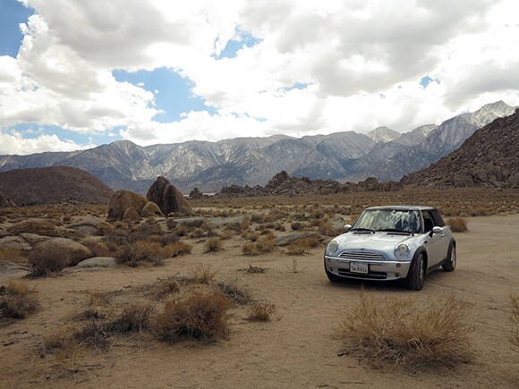 The author's MiniCooper Mars Rover parked in the Alabama Hills, outside of Lone Pine, California, off U.S. Route 395. | Photo: Tyler Stallings.