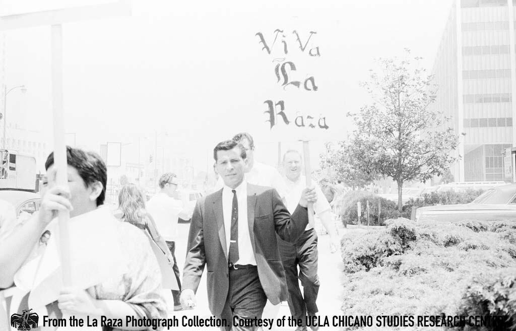 CSRC_LaRaza_B1F4C8_Staff_007 Richard Calderon attends rally to free the LA 13 at La Placita | La Raza photograph collection. Courtesy of UCLA Chicano Studies Research Center