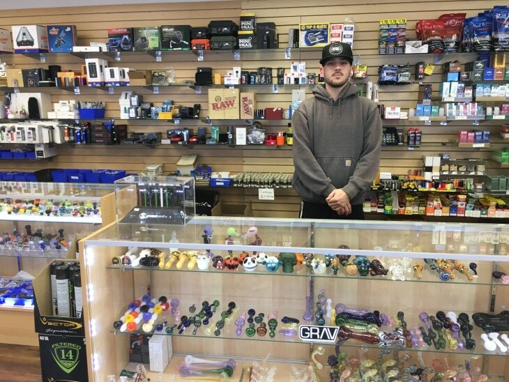 Business has been crazy at Lincoln Tobacco Shop on March 16, 2020. Danny Borghesani says smokers are stocking up on vapes and cigarettes. | Emily Guerin/LAist
