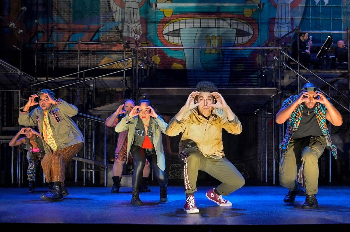 "The cast of La Jolla Playhouse's co-world premiere of ""Kiss My Aztec!"" Book by John Leguizamo and Tony Taccone, music by Benjamin Velez, lyrics by David Kamp, Benjamin Velez and John Leguizamo, directed by Tony Taccone. 