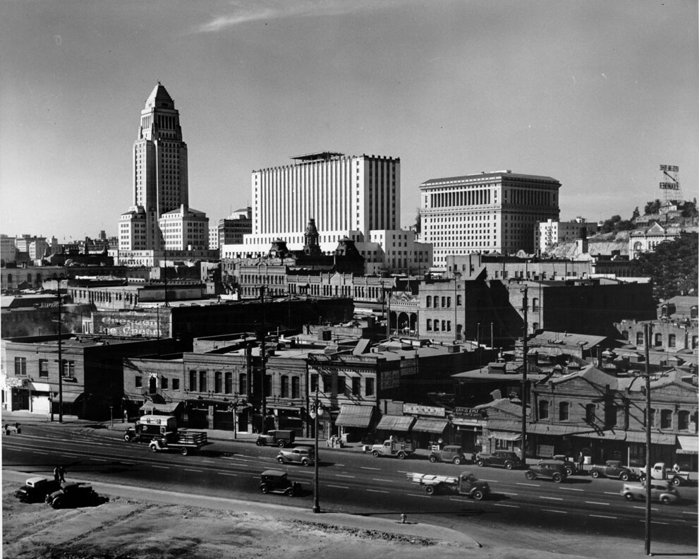 1938 view of Civic Center and residential area