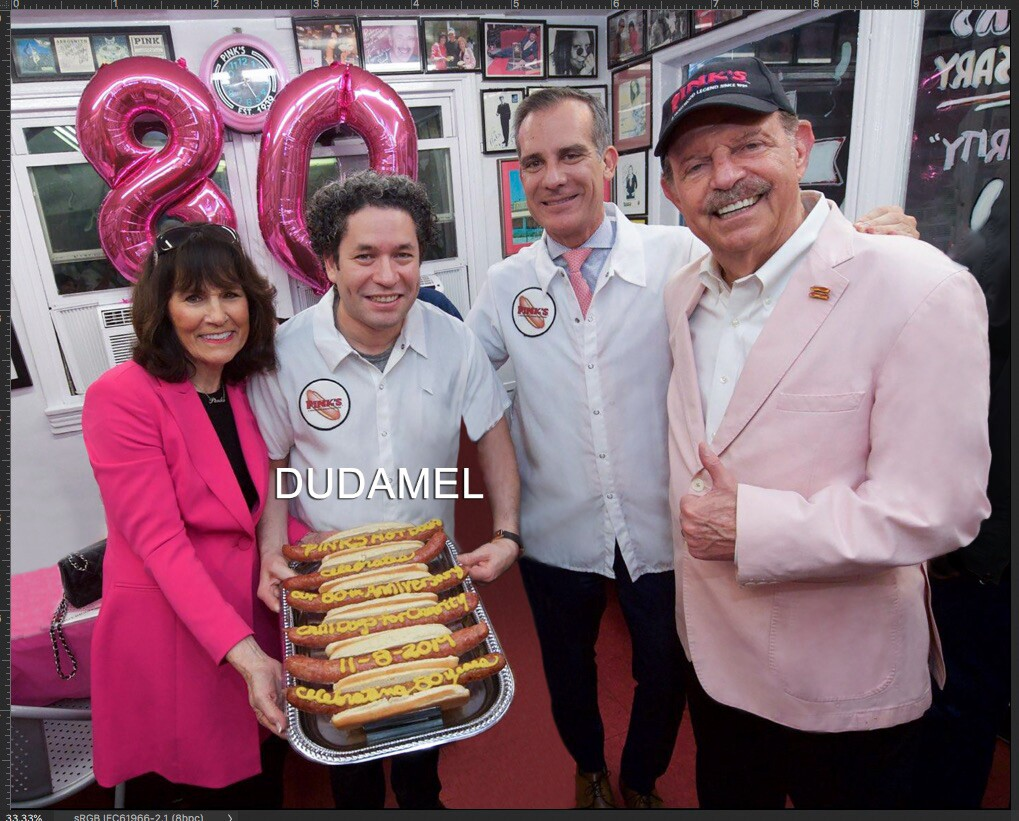 Gloria Pink, Gustavo Dudamel, Mayor Eric Garcetti and Richard Pink at the restaurant's 80th anniversary on November 8, 2019 | Pink's Hot Dogs