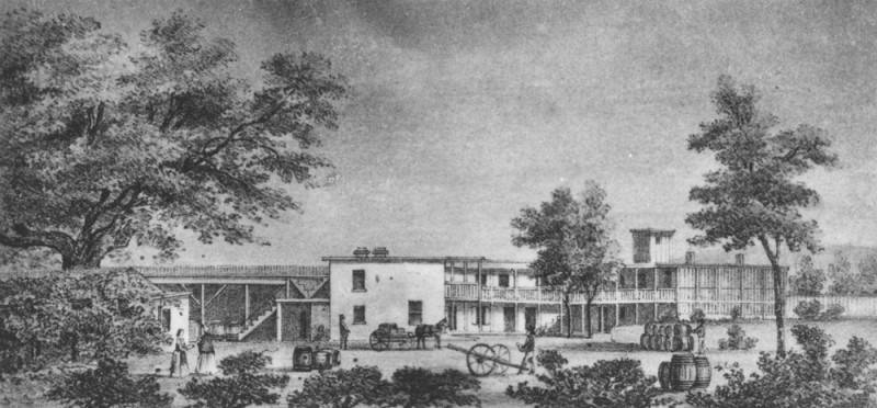 A photo of a drawing of the Vignes' wine establishment in 1831.