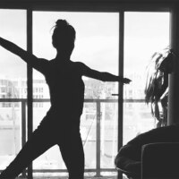 """Silhouette of an  L.A. Dance Project dancer in """"12 Variations."""" 