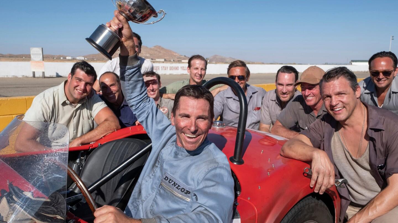 "Christian Bale raises a trophy in the film, ""Ford v Ferreri"""