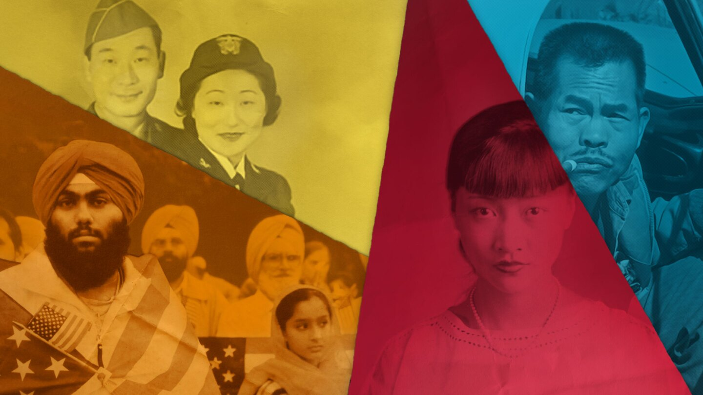 """A collage of different Asian American figures. 
