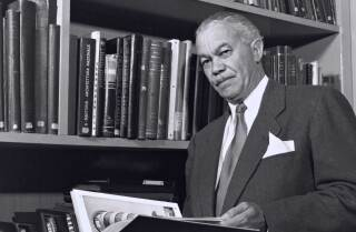 Paul R. Williams in a library | J. Paul Getty Trust. Getty Research Institute, Los Angeles