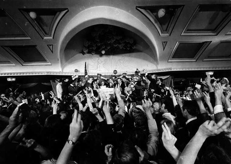 Sen. Robert F. Kennedy's moment of victory in the Ambassador Hotel, minutes before he would be shot and killed