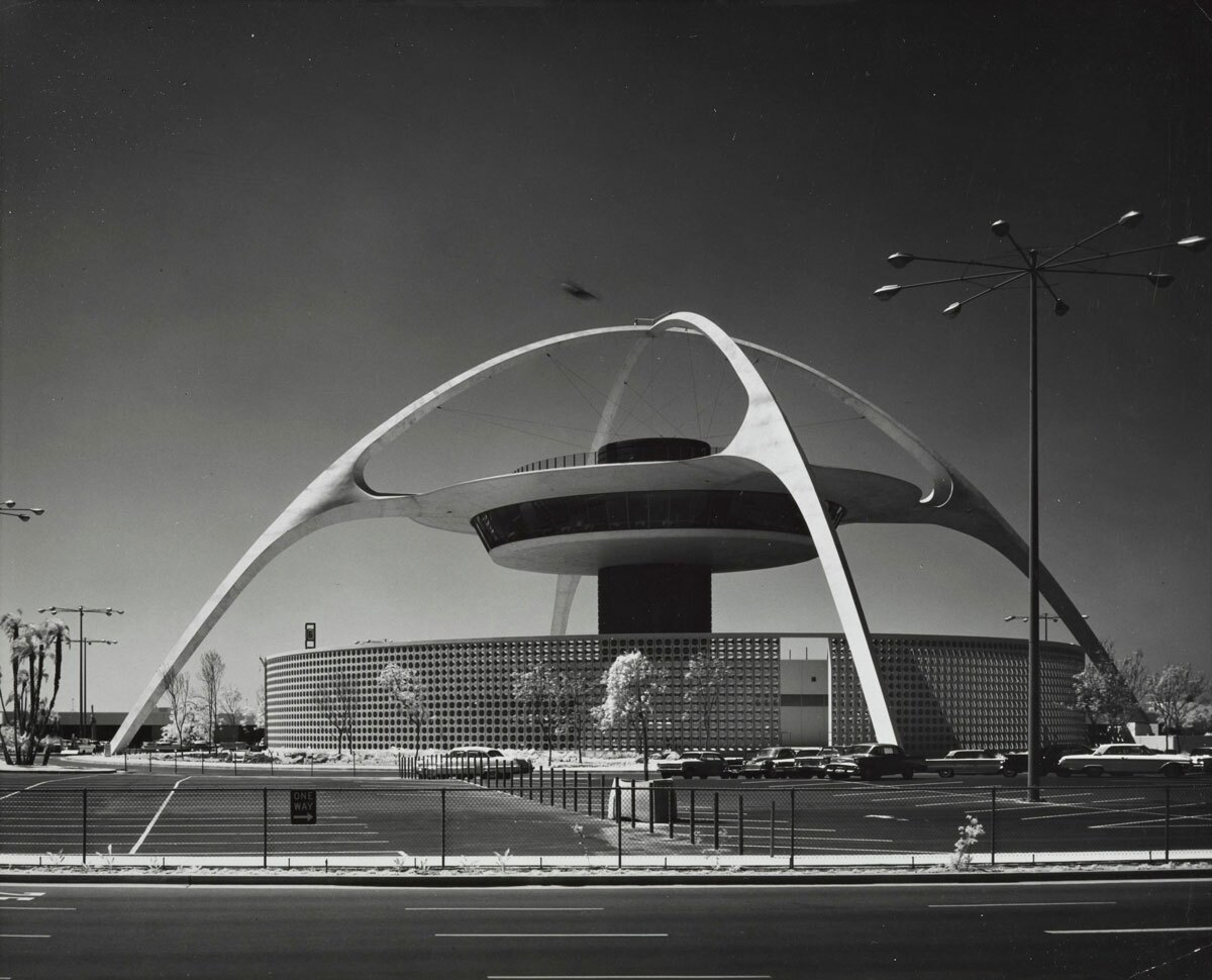 Exterior of the LAX Theme Building, which Paul R. Williams helped design | J. Paul Getty Trust. Getty Research Institute, Los Angeles