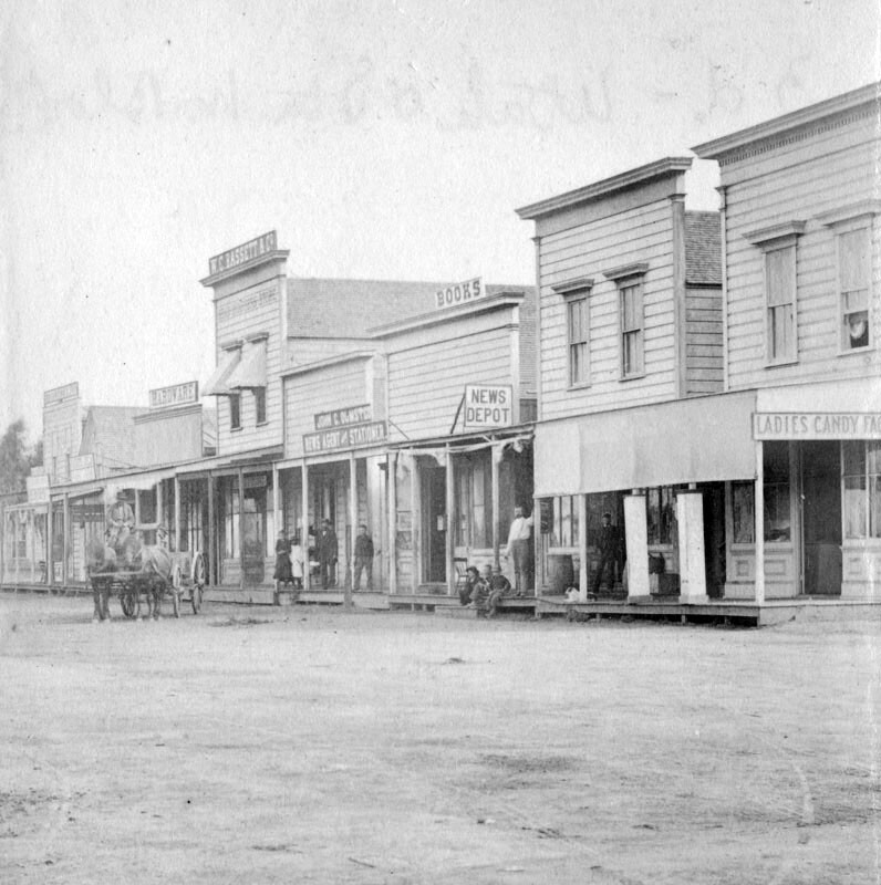 1880 view of the commercial block on Santa Moncia's Third Street between Utah and Oregon avenues. Courtesy of the Photo Collection - Los Angeles Public Library.