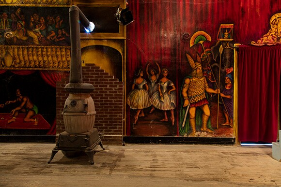 The interior of the Amargosa Opera House painted by Marta Becket during 1968-1974. | Photo: Kim Stringfellow.