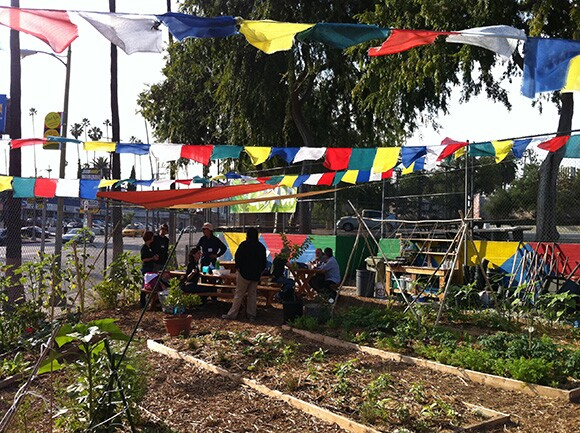 Echo Park Time Bank at a children's school garden in Los Angles
