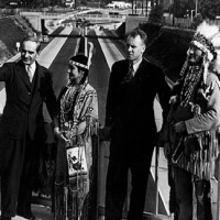 A ceremony 'transferring' ownership of the Arroyo Seco Parkway