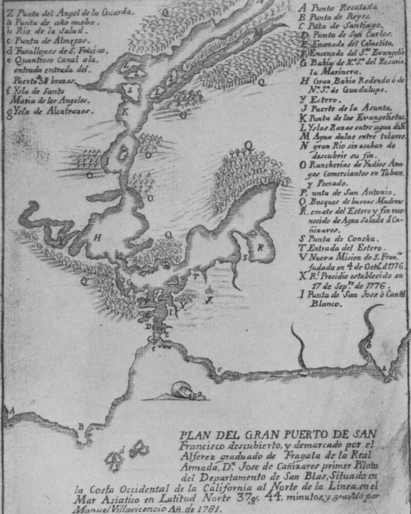 1781 map of san francisco bay