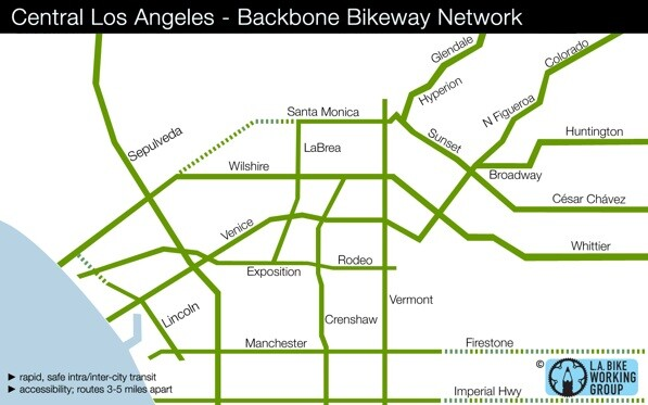 Detail of the Backbone Bikeway Network, a proposal created by cyclists and incorporated into the city's bicycle master plan | Image via the L.A. Bike Working Group