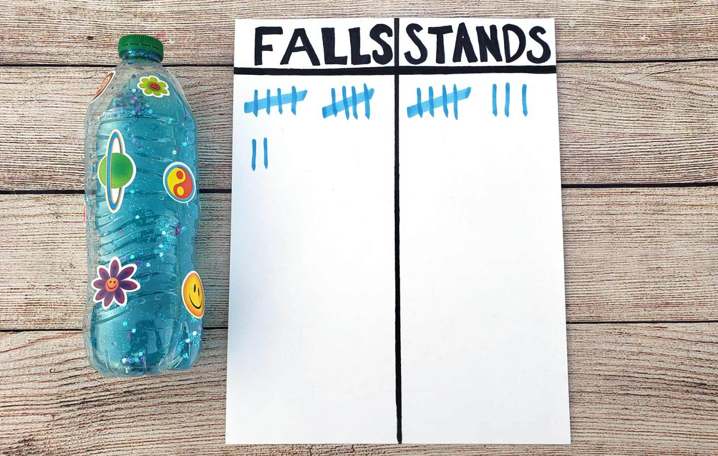 "A white sheet of paper is divided into two columns labeled ""falls"" and ""stands."" There is a decorated plastic water bottle next to it."