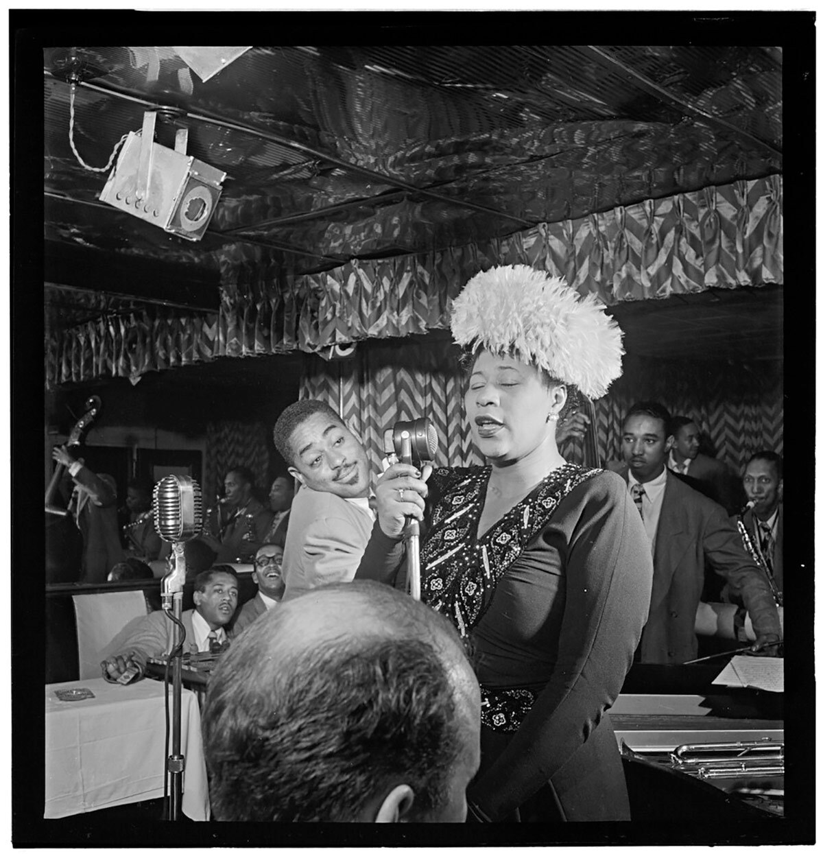 Portrait of Ella Fitzgerald, Dizzy Gillespie, Ray Brown, Milt (Milton) Jackson, and Timmie Rosenkrantz, Downbeat, New York, N.Y., ca. Sept. 1947.   Flickr/Library of Congress/Creative Commons/Public Domain