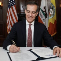 Mayor Eric Garcetti signs Executive Directive 27 to advance racial justice in every city department | Courtesy Office of Los Angeles Mayor Eric Garcetti