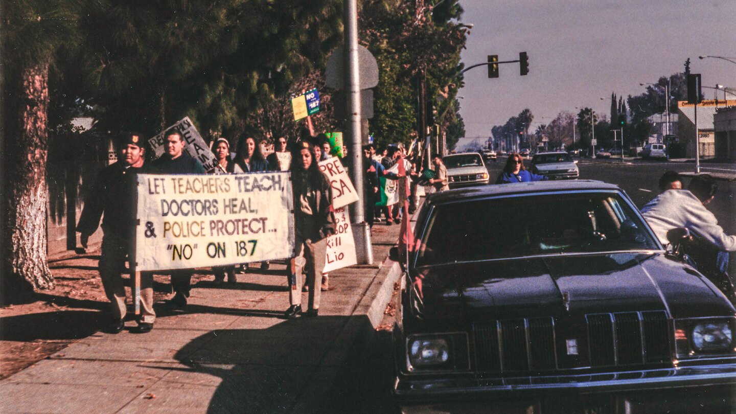 Protesters march against Proposition 187 in Fresno. | David Prasad / Creative Commons