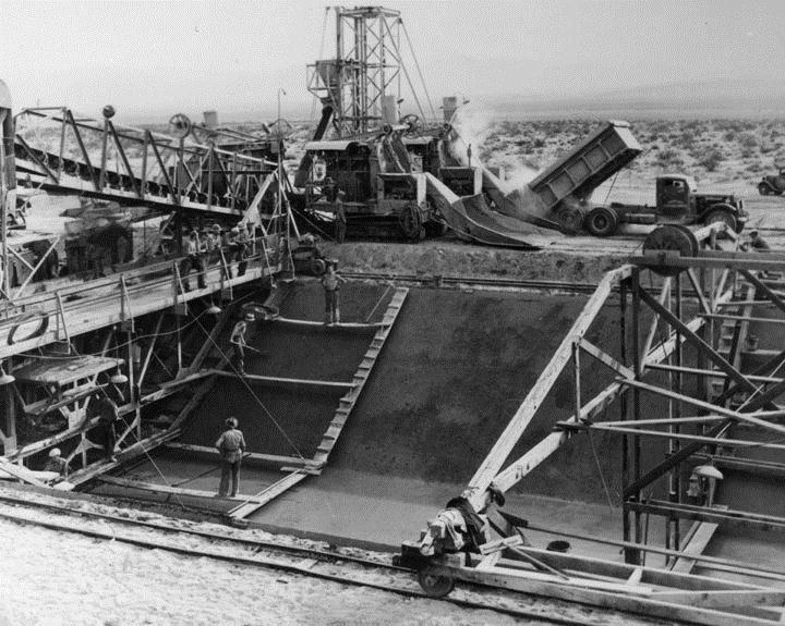 Colorado River Aqueduct canal under construction, 1938