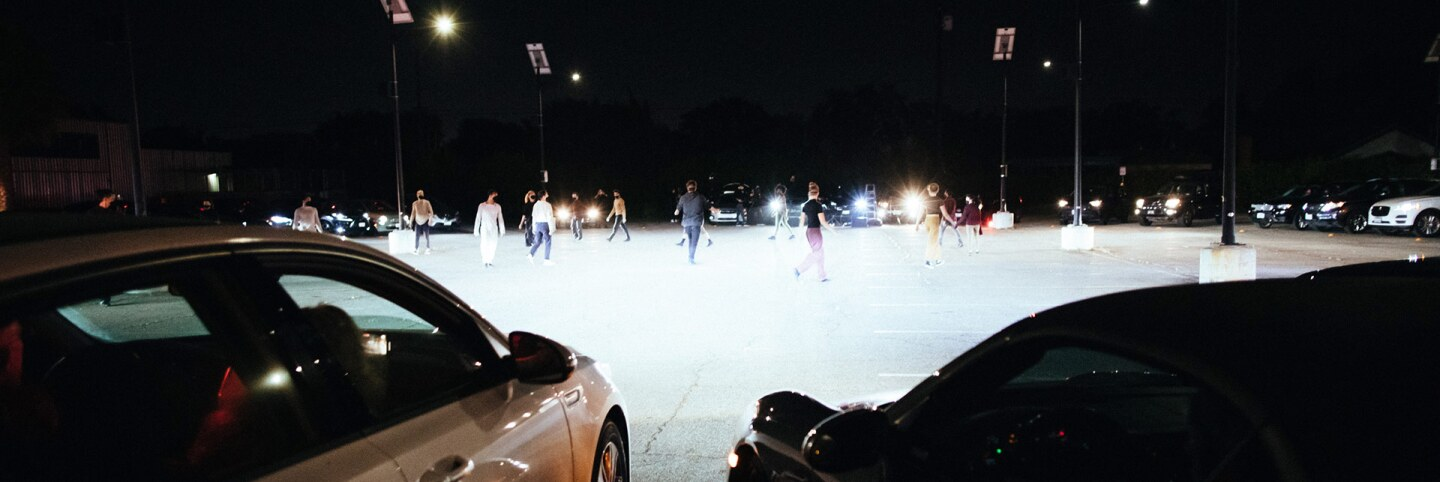 "Thirty-five cars formed a circle around dancers in ""Parked."" 