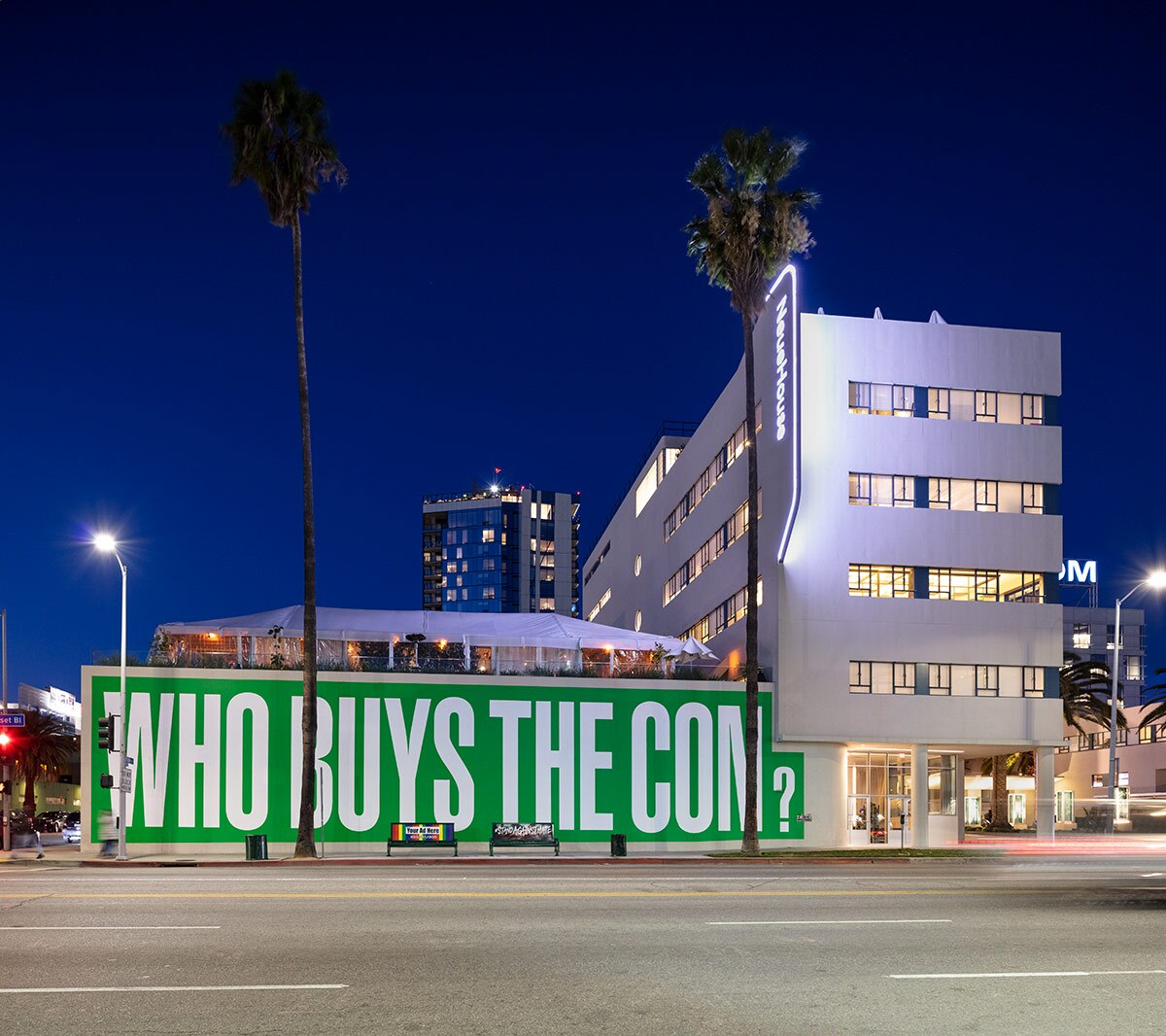 """Barbara Kruger's new mural at the NeueHouse Hollywood reads """"Who buys the con?"""" as part of her """"Untitled (Questions)"""" project. 