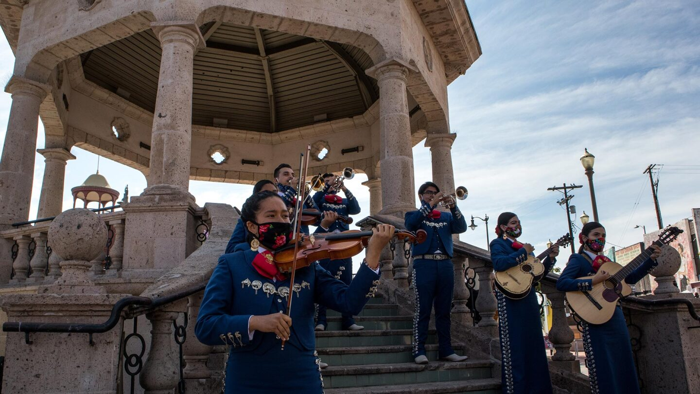 A mariachi groupperformsat Mariachi Plaza in Boyle Heights to fundraise for the mariachi relief fund. | Courtesy of Community Power Collective