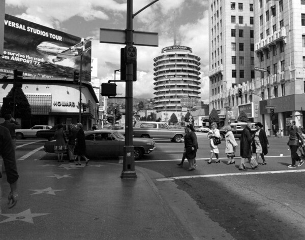 1978 photo by William Reagh of Hollywood and Vine, looking north toward the Howard Johnson's restaurant and Capitol Records tower. Courtesy of the Photo Collection - Los Angeles Public Library.