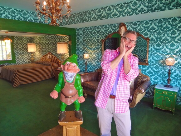 Los Angeles humorist and historian Charles Phoenix visits the Irish Hills suite at the Madonna Inn in San Luis Obispo. | Photo: Courtesy of Charles Phoenix.