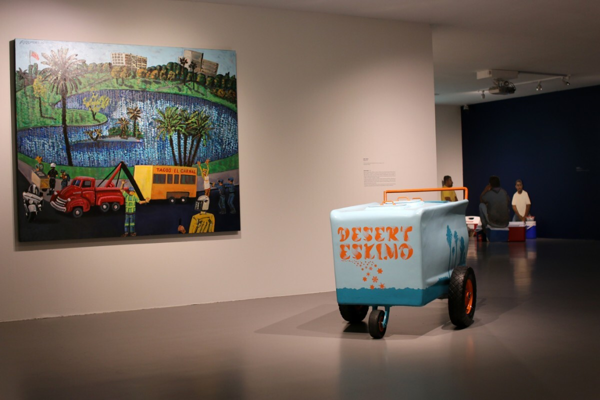 """""""MacArthur Park, the Arrest of the Taco wagon, an Attack on Culture"""" 2010 by Frank Romero and """"Paleta Cart,"""" 2004 by Gary Garay 