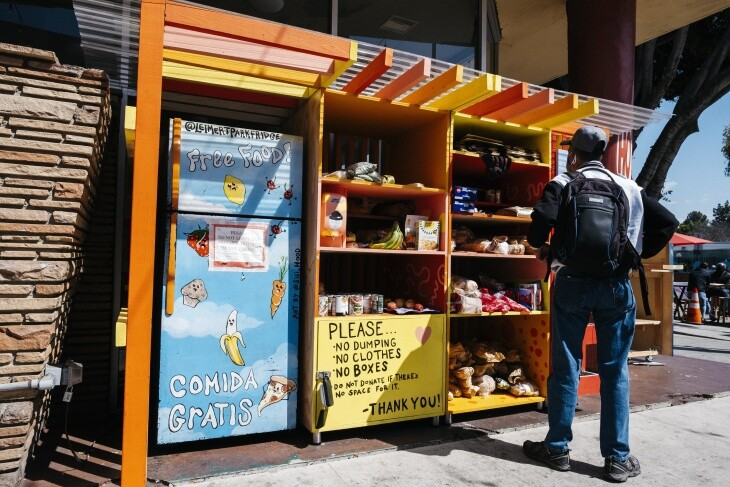 A Leimert Park community fridge offers food to those in need during the pandemic.