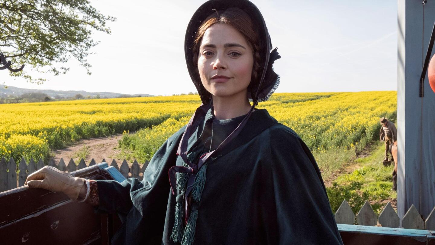"Queen Victoria (Jenna Coleman) standing against a backdrop of a vast, yellow field. | ""Victoria on Masterpiece: Engine of Change"""