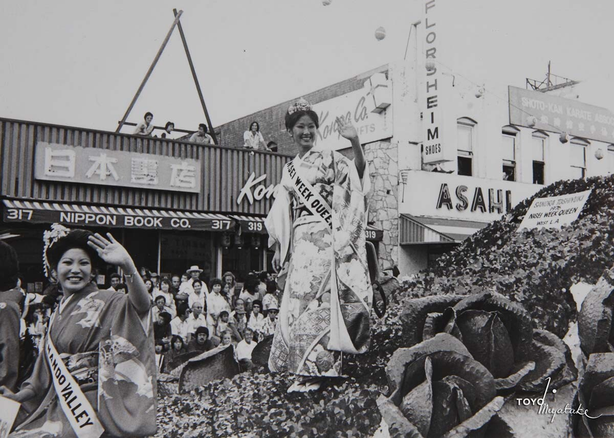 The Nisei Week Queen during the 1976 Nisei Week Parade | Courtesy of Toyo Miyatake Studio