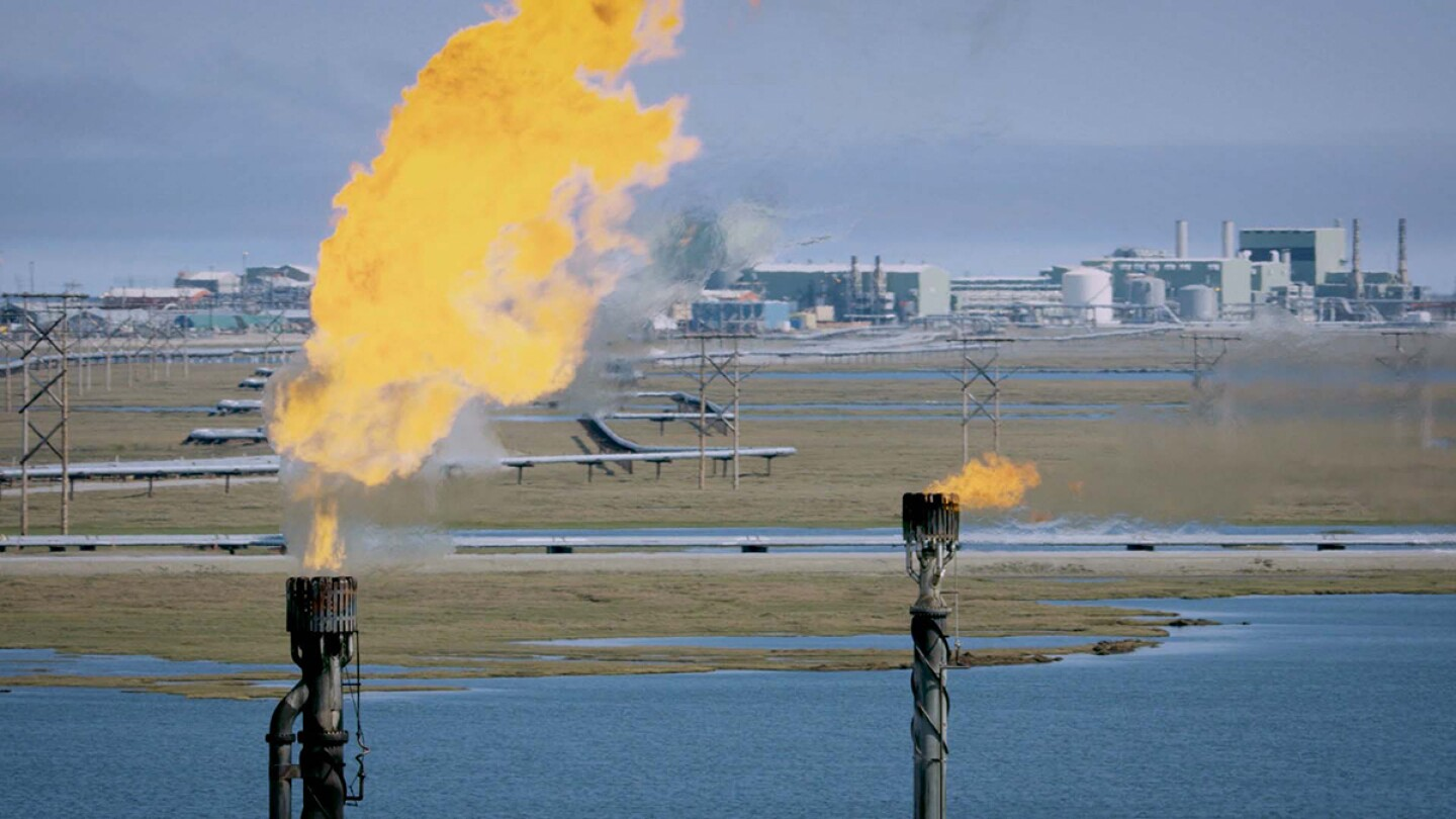 """The oil and gas industry has large operations in Alaska.   Still from Earth Focus """"Fueling Change: Alaskan Communities Divided Over Oil Drilling"""""""