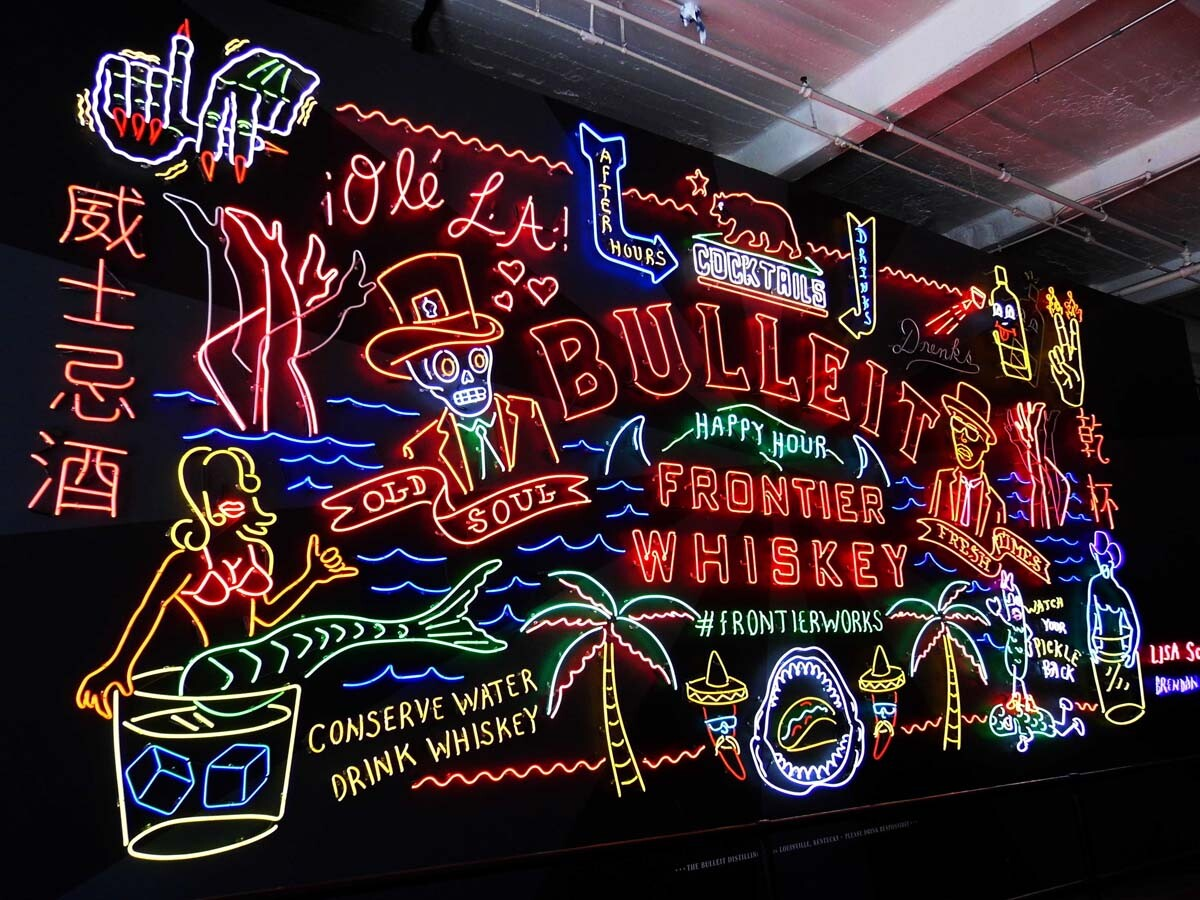 Bulleit Frontier Works neon sign by Schulte and Donnelly at Grand Central Market. | Sandi Hemmerlein
