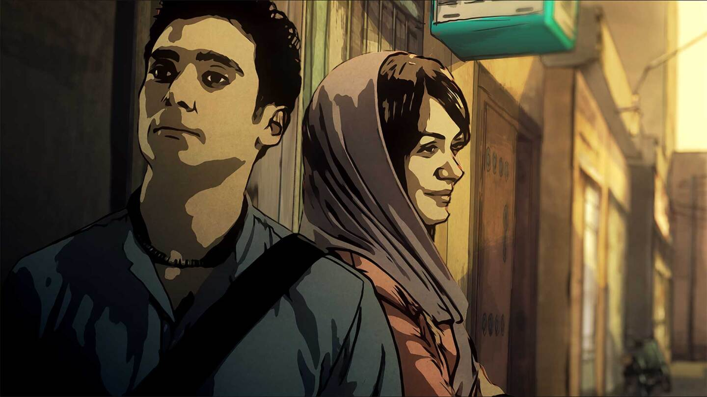 "Illustration of a man and a woman stand side to side on a city street. | Still from ""Tehran Taboo"""
