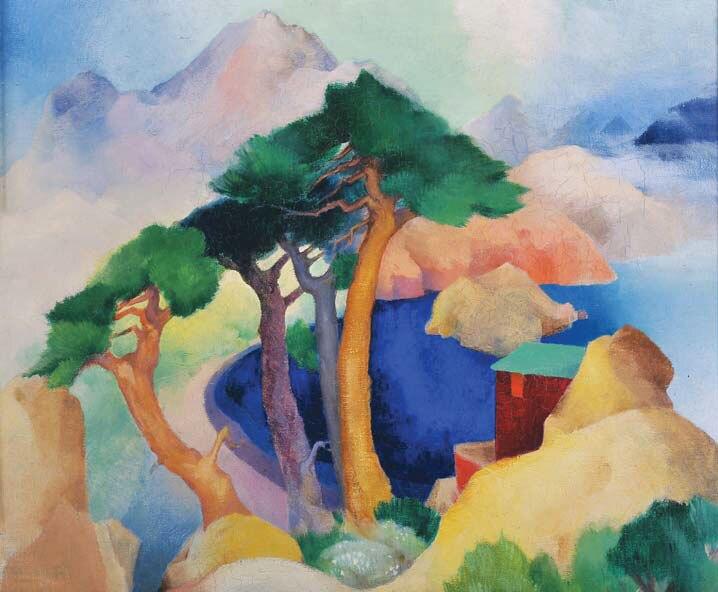 Vivian F. Stringfield, Landscape, c. 1924, oil on board