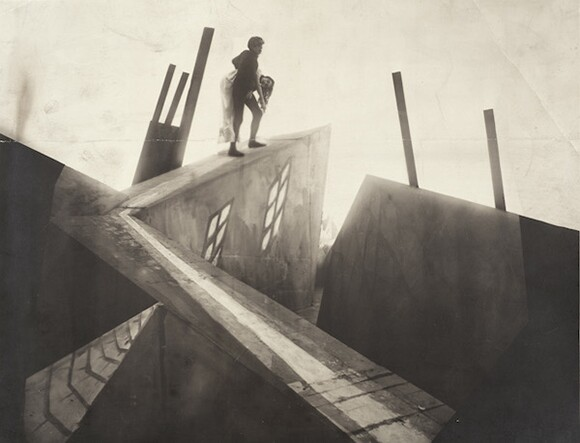 """Unknown photographer, set photograph from """"The Cabinet of Dr. Caligari (Das Kabinett des Dr. Caligari),"""" 1919, directed by Robert Wiene. Los Angeles County Museum of Art, Robert Gore Rifkind Center for German Expressionist Studies"""