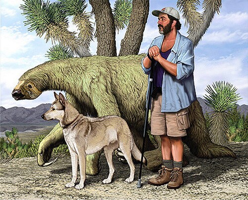 Carl Dennis Buell's painting of Chris Clarke with his dog Zeke accompanied by Nothrotheriops shastensis — the Shasta ground sloth. © Carl Dennis Buell.