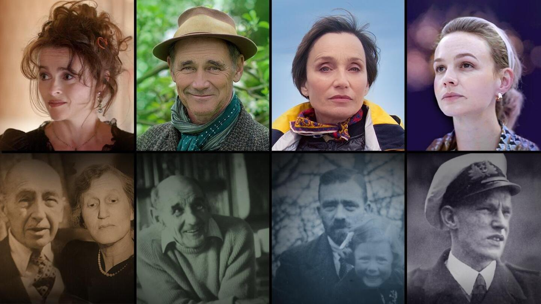 Collage of Helena Bonham Carter, Mark Rylance, Kristin Scott Thomas, and Carey Mulligan and their grandparents.