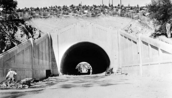 The northernmost three tunnels were built between 1930 and 1931. Courtesy of the USC Libraries - Dick Whittington Photography Collection.