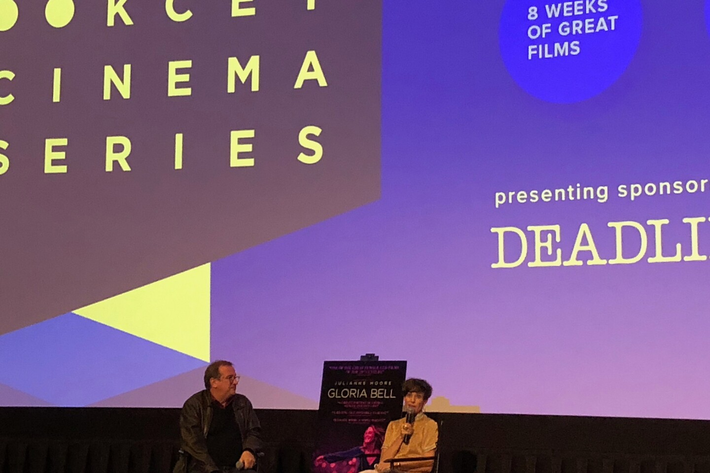 "Cinema Series host Pete Hammond and Screenwriter Alice Johnson Boher participate in a Q&A after a screening of ""Gloria Bell"""