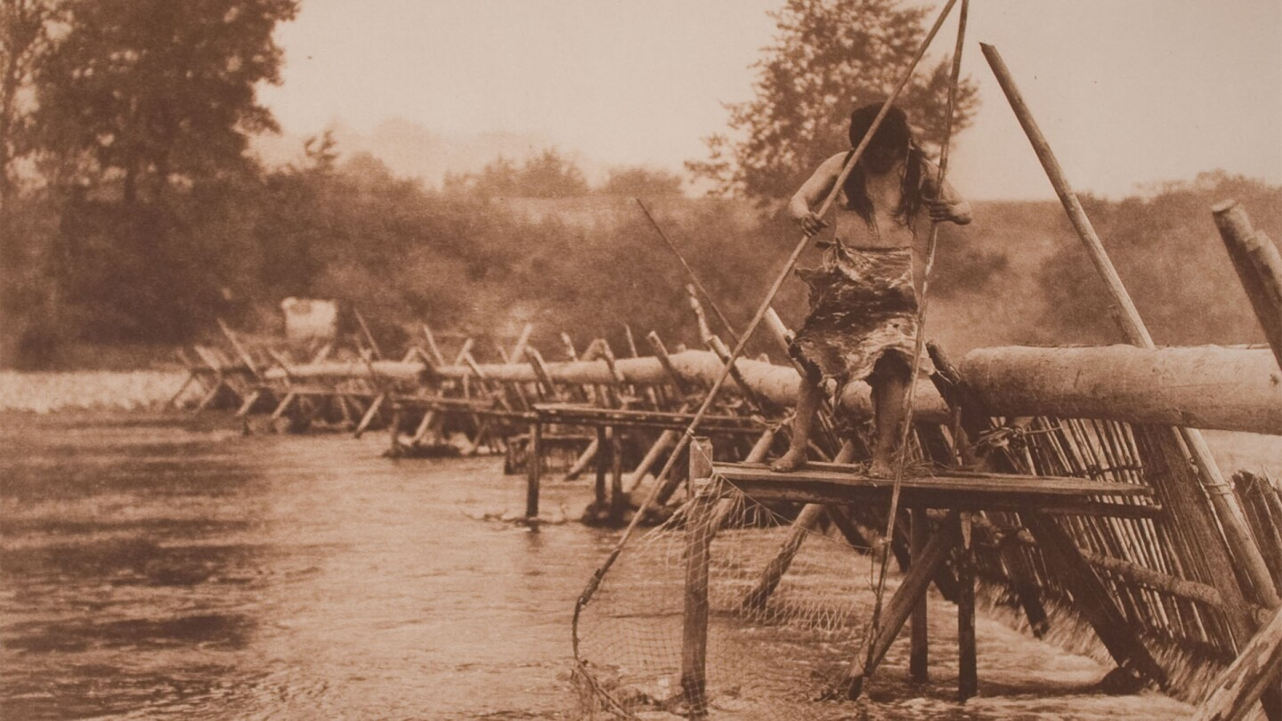 Fish-weir across Trinity River | Art by Edward Sheriff Curtis, Gift of Edwin and Irene Weinrot