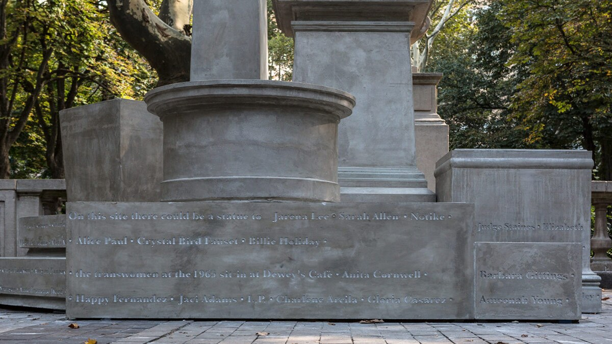 """Sharon Hayes' """"If They Should Ask"""" (2017) features concrete pedestals with names of women who could have sculptures made of them in the city of Philadelphia.   Courtesy of UCLA"""
