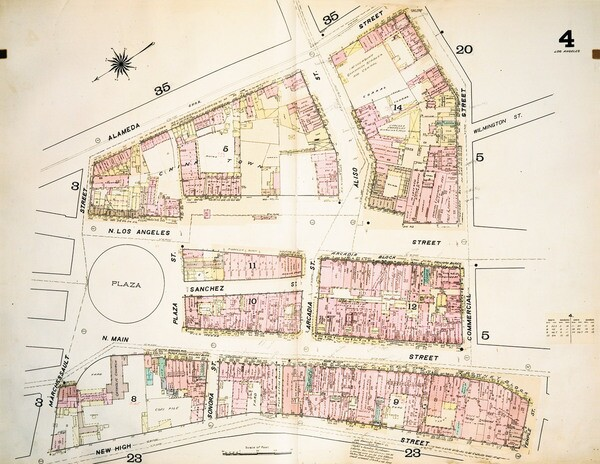 Map from the 1888 Dakin fire insurance atlas. Courtesy of the Map Collection, Los Angeles Public Library.