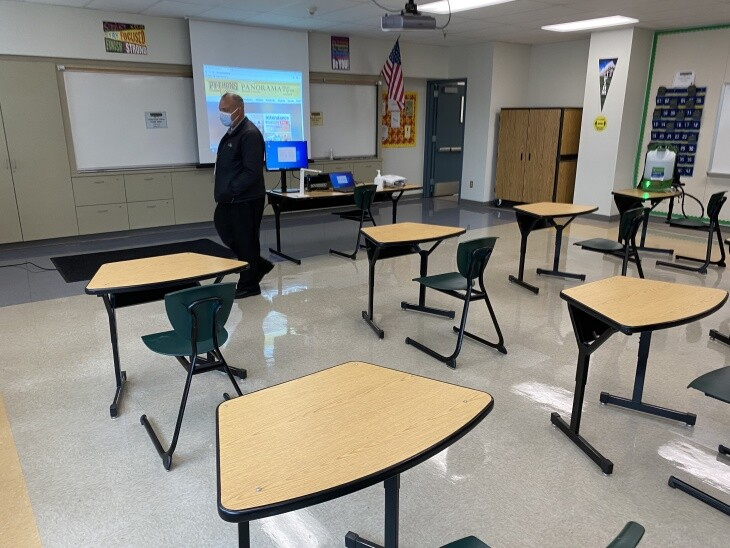 Desks spaced six feet apart in a classroom at Panorama High School in the L.A. Unified School District.