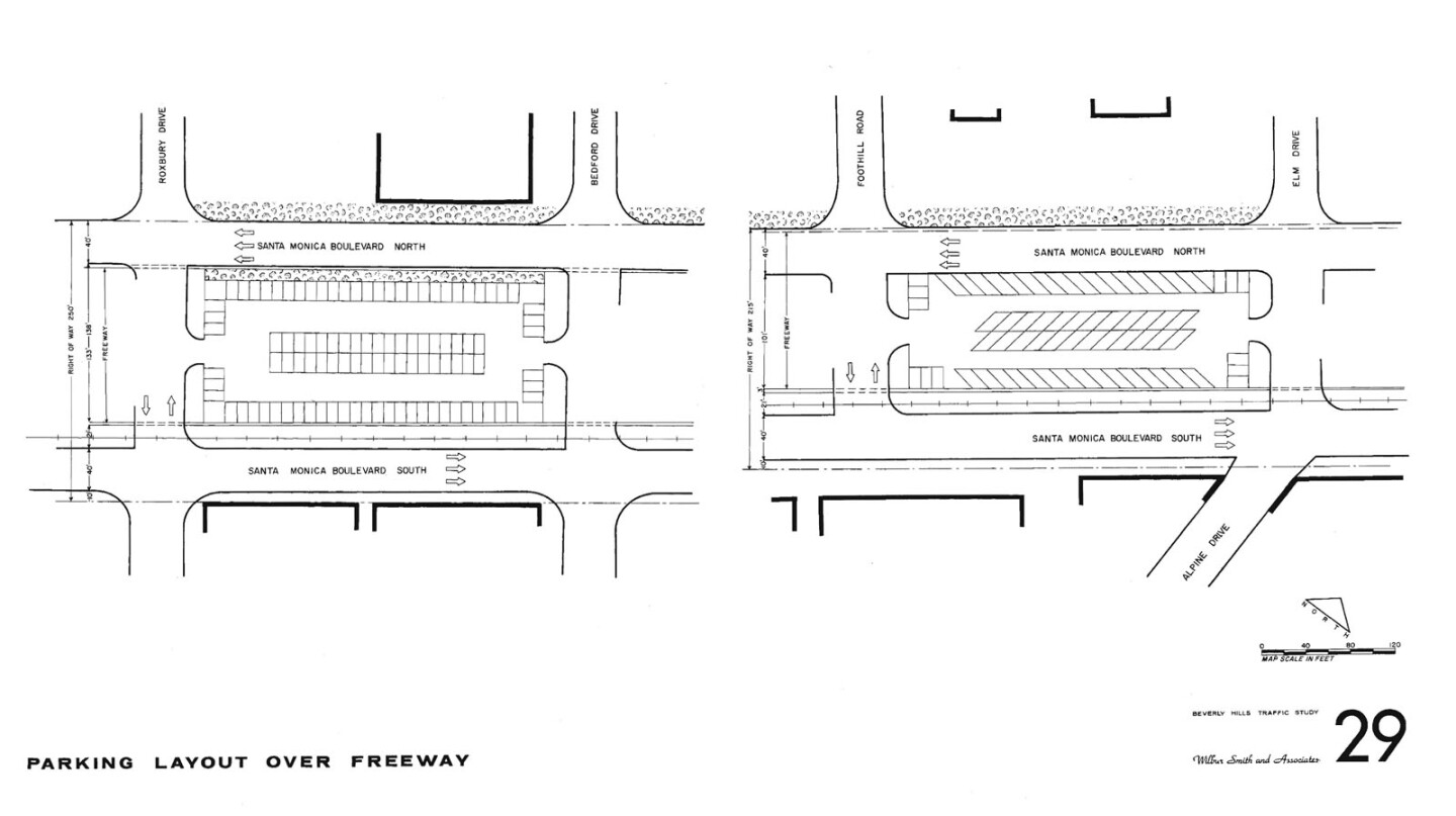 From the 'Beverly Hills Freeway Traffic Study' by Wilbur Smith and Associates, 1964. Courtesy of the Metro Transportation Library and Archive.